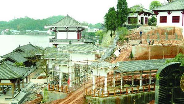 12月4日,蓬溪赤城湖·中国书画文化创意产业示范基地(唐兴书院)施工